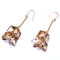 Earrings - TOPAZ CRYSTAL RHOMBUS DANGLE HOOK EARRINGS MOTHER' S DAY GIFTS alternate image 1.