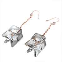 Earrings - GRAY CLEAR CZ CRYSTAL DOUBLE RHOMBUS HOOK DANGLE GLAM EARRINGS alternate image 1.