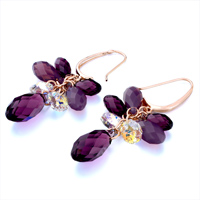 Earrings - FEBRUARY BIRTHSTONE SWAROVSKI PURPLE CRYSTAL CLUSTER PAVE TEARDROP DANGLE EARRINGS alternate image 1.