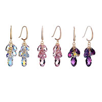 Earrings - FEBRUARY BIRTHSTONE SWAROVSKI PURPLE CRYSTAL CLUSTER PAVE TEARDROP DANGLE EARRINGS alternate image 3.