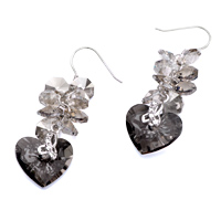 Earrings - BLACK GRAY CRYSTAL CLUSTER DANGLE SWAROVSKI HEART EARRINGS alternate image 1.