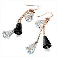 Earrings - BLACK CLEAR SWAROVSKI CRYSTAL TRUMPETS DANGLE EARRINGS alternate image 1.