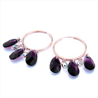 Earrings - BEAUTIFUL HOOP DANGLE FEBRUARY BIRTHSTONE PURPLE SWAROVSKI CRYSTAL DROPS EARRINGS alternate image 1.