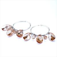 Earrings - HOOP DANGLE NOVEMBER BIRTHSTONE SWAROVSKI TOPAZ CRYSTAL DROP EARRINGS alternate image 1.