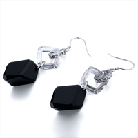 Earrings - CLEAR CRYSTAL QUADRANGLE DANGLE BLACK ZIRCON RHOMBUS EARRINGS alternate image 1.