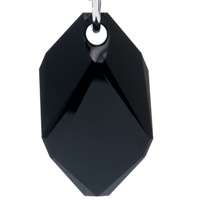 Earrings - CLEAR CRYSTAL QUADRANGLE DANGLE BLACK ZIRCON RHOMBUS EARRINGS alternate image 2.