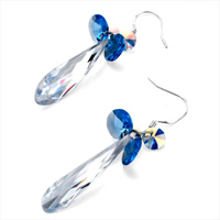 Earrings - CLASSIC APRIL BIRTHSTONE CLEAR SWAROVSKI CRYSTAL FINE CONE DANGLE DROP EARRINGS alternate image 1.