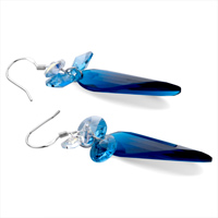 Earrings - HOT SEPTEMBER BIRTHSTONE SAPPHIRE CRYSTAL FINE CONE DANGLE EARRINGS alternate image 1.