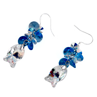 Earrings - CLASSIC AQUAMARINE WATERDROP SWAROVSKI CRYSTAL DANGLE FISH ELF EARRINGS alternate image 1.