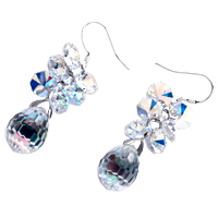 Earrings - APRIL BIRTHSTONE CLEAR SWAROVSKI CRYSTAL CLUSTER DROP DANGLE GIFT EARRINGS alternate image 1.