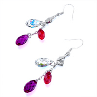Earrings - FANCY CLASSIC CLEAR PINK ROSE CRYSTAL DANGLE WATERDROP EARRINGS alternate image 1.