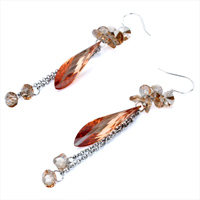 Earrings - NOVEMBER BIRTHSTONE TOPAZ SWAROVSKI CRYSTAL ASYMMETRIC FALLDROP DANGLE EARRINGS alternate image 1.