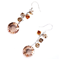 Earrings - STUNNING TOPAZ CRYSTAL ROUND DROP DANGLE EARRINGS FOR WOMEN GIFT alternate image 1.