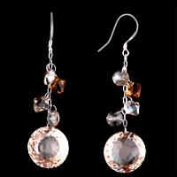 Earrings - STUNNING TOPAZ CRYSTAL ROUND DROP DANGLE EARRINGS FOR WOMEN GIFT alternate image 2.