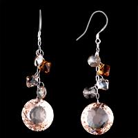 Earrings - STUNNING TOPAZ CRYSTAL ROUND DROP DANGLE EARRINGS FOR WOMEN GIFT alternate image 2.