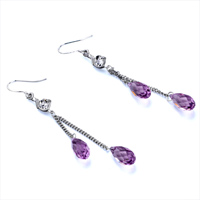 Earrings - LIGHT AMETHYST SWAROVSKI CRYSTAL FINE ANGEL PAVE TEARDROP EARRINGS alternate image 1.