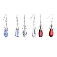 Earrings - RED CRYSTAL DANGLE FISH HOOK EARRINGS FOR WOMEN alternate image 1.