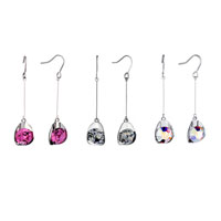 Earrings - THREAD DANGLE CRYSTAL DROP FISH HOOK EARRINGS alternate image 1.