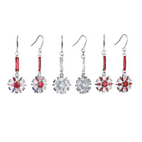 Earrings - CLEAR SWAROVSKI CRYSTAL BAR DANGLE FLOWER PETAL FISH HOOK EARRINGS GIFTS FOR WOMEN alternate image 1.