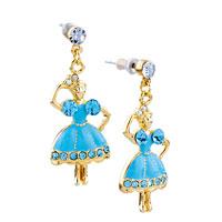 Earrings - DANGLE BLUE CZ DRESS DANCING GIRL EARRINGS STUD 14 K GOLD PLATED alternate image 1.