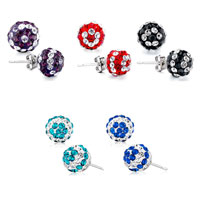Earrings - BALL APRIL JULY CLEAR RED BIRTHSTONE SWAROVSKI CRYSTAL STUD EARRINGS alternate image 2.