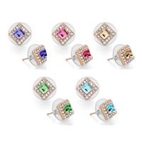 Earrings - ROSE GOLD SQUARE CLEAR CRYSTAL OCTOBER BIRTHSTONE CRYSTAL STUD EARRINGS alternate image 2.
