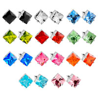 Earrings - HOT HANDMADE SQUARE CLEAR CRYSTAL CZ EARRINGS STUD alternate image 1.