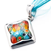 New Year Deals - SILVER SQUARE COLORFUL MILLEFIORI MURANO GLASS BLUE PENDANTS EARRINGS alternate image 1.