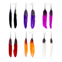 Earrings - FASHION FINE RED FEATHER WHITE SPOTS DRAPE DANGLE KNOT EARRINGS alternate image 2.