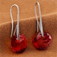 Earrings - JANUARY BIRTHSTONE GARNET RED SWAROVSKI ELEMENTS CRYSTAL ROUND DROP EARRINGS TWELVE COLORS alternate image 1.