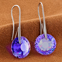 Earrings - FEBRUARY BIRTHSTONE AMETHYST PURPLE SWAROVSKI ELEMENTS CRYSTAL ROUND DROP EARRINGS TWELVE COLORS alternate image 1.