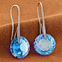 Earrings - MARCH BIRTHSTONE AQUAMARINE BLUE SWAROVSKI ELEMENTS CRYSTAL ROUND DROP EARRINGS TWELVE COLORS alternate image 1.