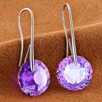 Earrings - JUNE BIRTHSTONE ALEXANDRITE AMETHYST SWAROVSKI ELEMENTS CRYSTAL ROUND DROP EARRINGS TWELVE COLORS alternate image 1.