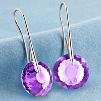 Earrings - JUNE BIRTHSTONE ALEXANDRITE AMETHYST SWAROVSKI ELEMENTS CRYSTAL ROUND DROP EARRINGS TWELVE COLORS alternate image 2.