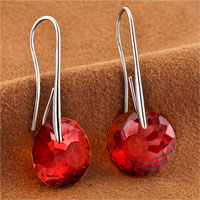 Earrings - JULY BIRTHSTONE RUBY RED SWAROVSKI ELEMENTS CRYSTAL ROUND DROP EARRINGS TWELVE COLORS alternate image 1.