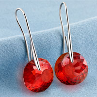 Earrings - JULY BIRTHSTONE RUBY RED SWAROVSKI ELEMENTS CRYSTAL ROUND DROP EARRINGS TWELVE COLORS alternate image 2.
