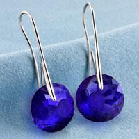 Earrings - SEPTEMBER BIRTHSTONE SAPPHIRE BLUE SWAROVSKI ELEMENTS CRYSTAL ROUND DROP EARRINGS TWELVE COLORS alternate image 2.