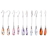 Earrings - FEBRUARY BIRTHSTONE PEAR DROP CRYSTAL DANGLE EARRINGS alternate image 1.