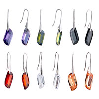 Earrings - CLASSY CLEAR CZ SHAPE DANGLE HOOK SILVER PLATED EARRINGS FOR WOMEN alternate image 1.
