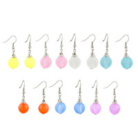 Earrings - CLASSIC RESIN PALE PINK BALL SILVER PLATED HOOK EARRINGS FOR WOMEN alternate image 1.