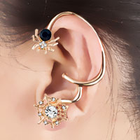 Earrings - GOLD TONE GOTHIC TEMPTATION SPIDER ANIMAL WEB PUNK ROCK CUFF EARRING LEFT EAR alternate image 1.
