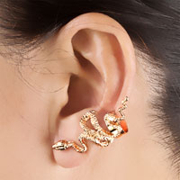 Earrings - GOTHIC TEMPTATION GOLD TONE ANTIQUE SNAKE ANIMAL EAR WRAP STUD PUNK ROCK CUFF EARRING LEFT EAR alternate image 1.