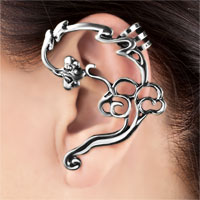 Earrings - GOTHIC TEMPTATION ANTIQUE VINTAGE FLOWER EAR WRAP STUD CUFF EARRING LEFT EAR alternate image 1.