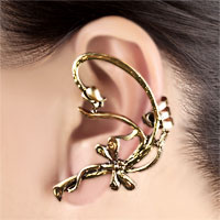 New Arrivals - GOTHIC TEMPTATION ANTIQUE BRASS CLASSIC DRAGONFLY ANIMAL EAR WRAP STUD PUNK ROCK CUFF EARRING LEFT EAR alternate image 1.