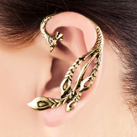 New Arrivals - GOLD TONE ANTIQUE PHOENIX BIRD ANIMAL GOTHIC EAR WRAP STUD PUNK ROCK CUFF EARRING LEFT EAR FOR WOMEN alternate image 1.