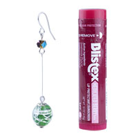 Murano Glass Jewelry - STERLING SILVER INTRICATE LINE GREEN BALL DANGLE EARRINGS alternate image 1.