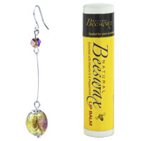Murano Glass Jewelry - SILVER PLATED EARRINGS PURPLE CRYSTAL SPOTS BALL DANGLE EARRINGS alternate image 1.