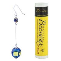 Murano Glass Jewelry - FASHION RECTANGULAR INLAY BLUE BALL DANGLE SILVER TONE HOOK EARRINGS alternate image 1.