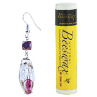 Murano Glass Jewelry - RED AND BROWN SPECKLE TRANSLUCENT DANGLE SILVER TONE HOOK EARRING alternate image 1.