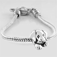Bracelets - LOVE SLEEPY CUTE PUPPY DOG ANIMAL BEADS CHARM HEART LOBSTER CLASP BRACELET FIT ALL BRANDS CHARMS BEADS alternate image 1.